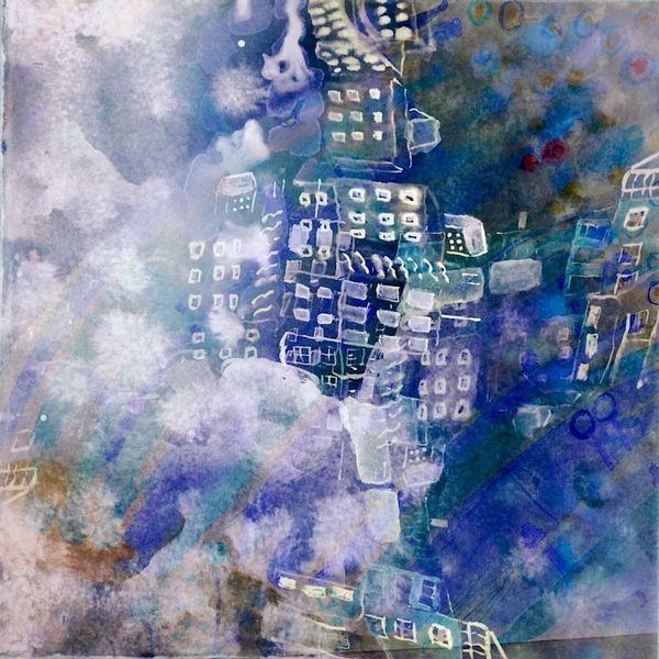 Häuser, Schatten, Wolken, Digitale kunst