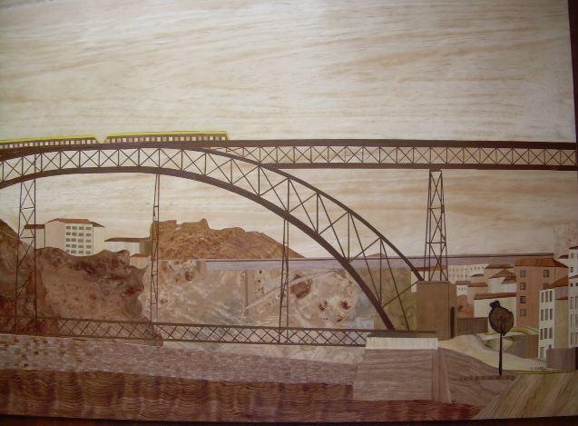 Holz, Intarsienbilder, Marketerie, Kunsthandwerk, Porto,