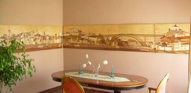 Marketerie, Intarsienbilder, Porto, Kunsthandwerk, Holz,