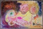 Grafik, Engel, Lippen, Pastellmalerei