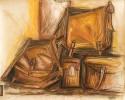 Tasche, Farbkreide, Zeichnung, Stillleben