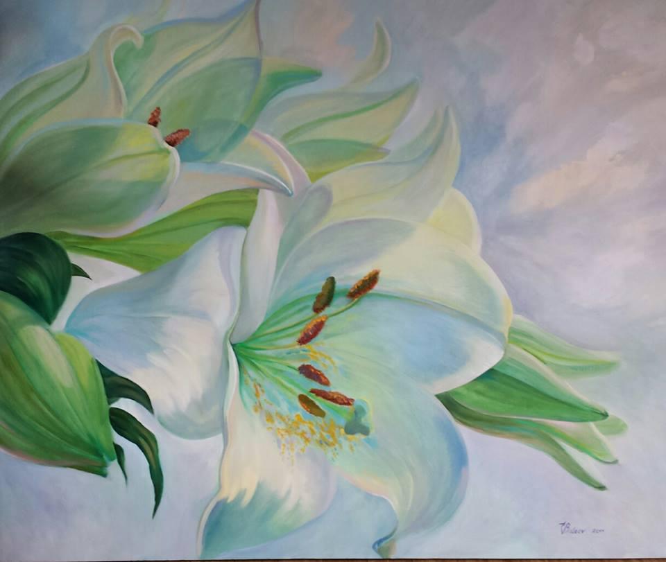 bild lilien blumen malerei pflanzen von katharina valeeva bei kunstnet. Black Bedroom Furniture Sets. Home Design Ideas