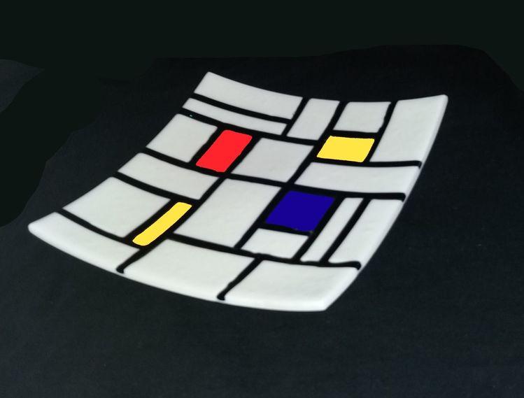 Fusingglas, Schale, Mondrian, Kunsthandwerk,