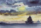 Aquarellmalerei, Grafik, Aquarell, Abendlicht