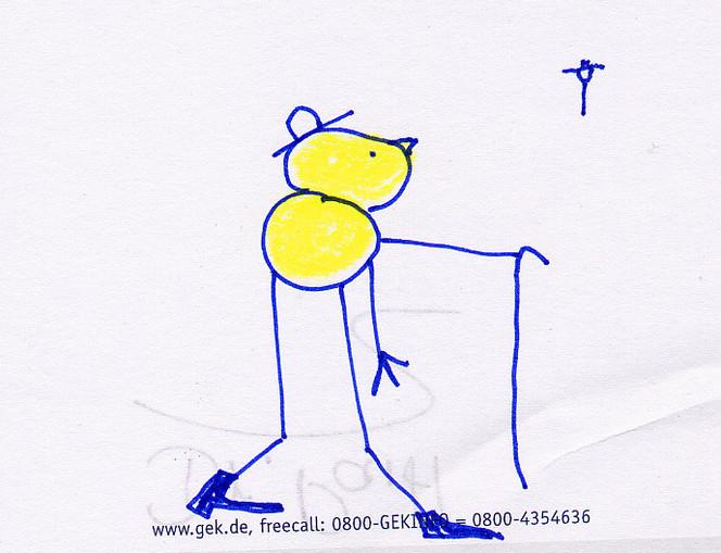 Hut, Zeichnung, Stock, Gelb, Mann, Horizont
