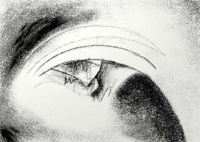 Digital, Zeichnung, Schwarzweiß, Augen, Wahnsinn, Malerei