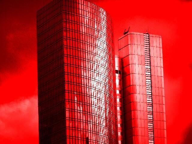 Hochhaus, Wolkenkratzer, Abstrakt, Frankfurt, Fotografie, Rot