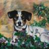 Blumen, Hund, Beet, Malerei
