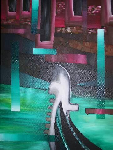 Abstrakt, Wasser, Boot, Malerei, Venedig, Gondel