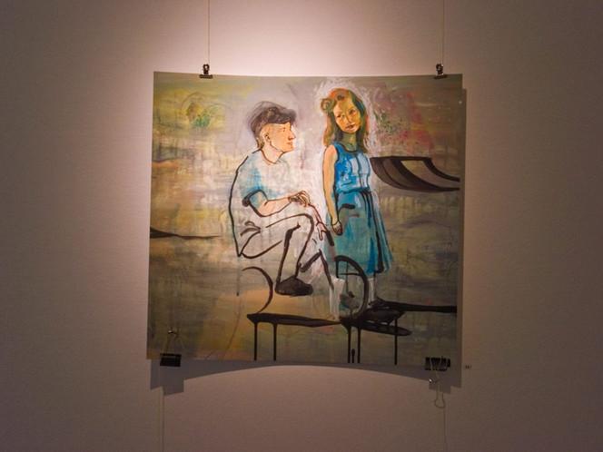 Acrylmalerei, Sonnenschen, Blau, Figural, Menschen, Frau