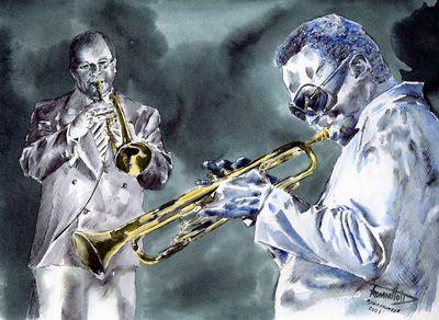 Musik, Mischtechnik, Grafik, Jazz, Portrait, Aquarellmalerei