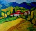 Malerei, Landschaft, Bergdorf