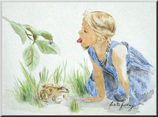 Aquarellmalerei, Mädchen, Frosch, Kind, Kinderbuch, Fliege