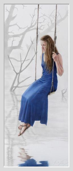 Kleid, Mädchen, Acrylmalerei, Sumpf, Airbrush, Melancholisch