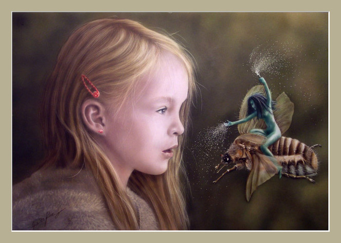 Käfer, Kinder, Insekten, Fee, Fantasie, Acrylmalerei