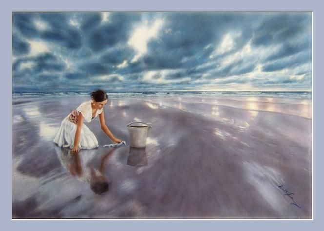 Frau, Strand, Mädchen, Wind, Fantasie, Putzen