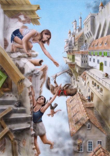 Acrylmalerei, Sturz, Furcht, Fantasie, Pferde, Felsen