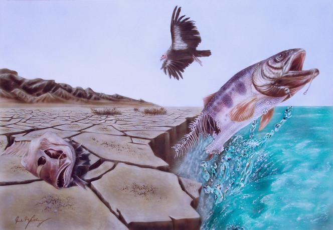 Fisch, Wüste, Acrylmalerei, Vogel, Ende, Malerei