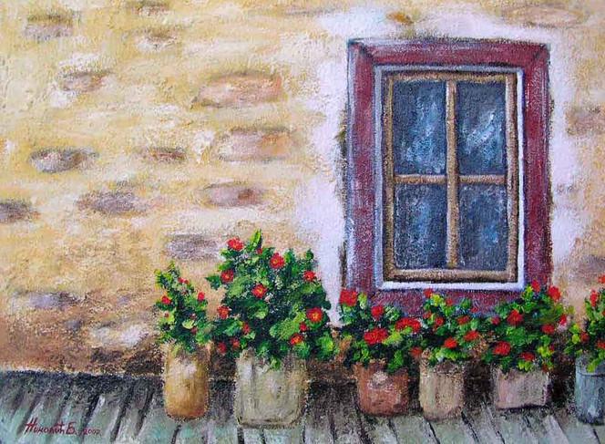 Fenster, Stillleben, Acrylmalerei, Malerei, Blumen, Wand