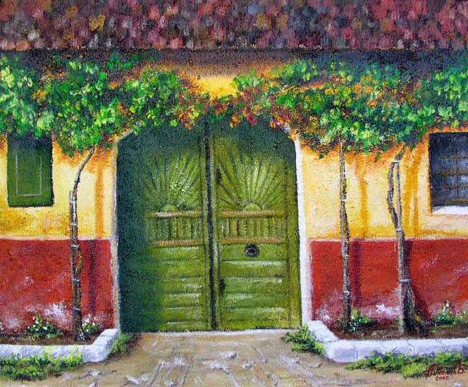 Sonne, Haus, Dorf, Malerei, Tor, Trauben
