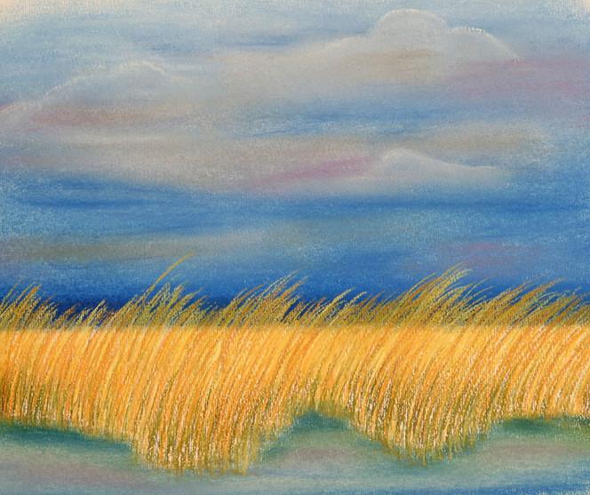 Ostsee, Landschaft, Pastellmalerei, Malerei, Dünen, Himmel