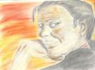Portrait, Zeichnung, Frau, Sonnenuntergang