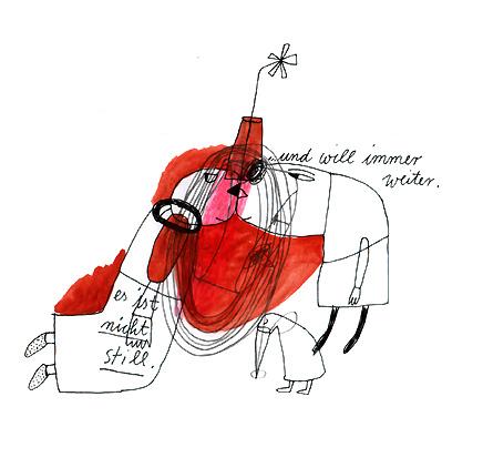 Illustration, Rot, Unruhe, Stille, Aquarellmalerei, Warten