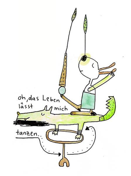 Leben, Zeichnung, Illustration, Tanz, Poesie, Krokodil
