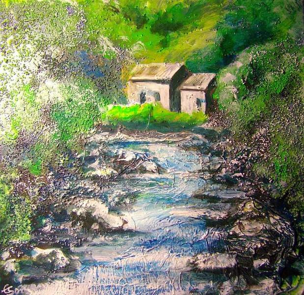 Fluss, Landschaft, Tal, Malerei, Berge, Haus