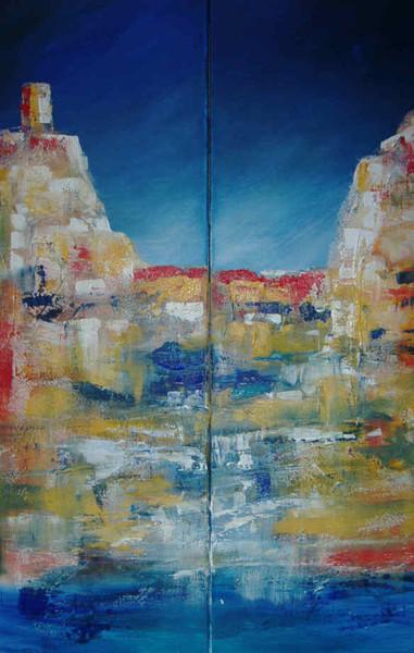 Meer, Steilküste, Klippe, Abstrakt, Küste, Malerei