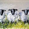 Schaf, Tiere, Landschaft, Malerei