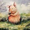 Schwein, Natur, Tiere, Aquarell