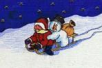 Malerei, Schlitten, Figural, Weihnachtsmann