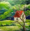 Wiese, Kapelle, Wald, Haus