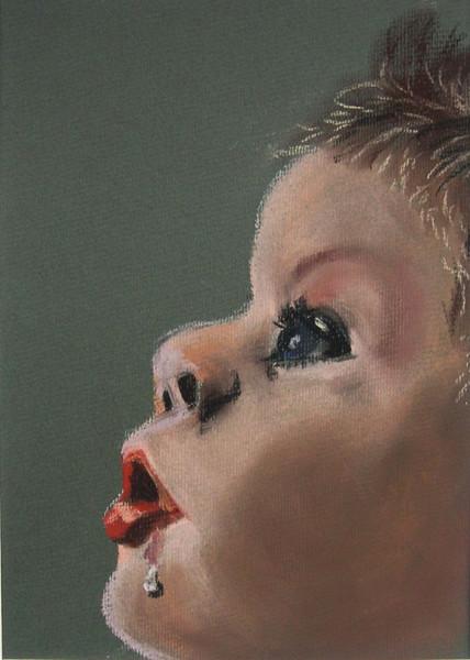 Portrait, Pastellmalerei, Figural, Malerei, Kind, Staunen