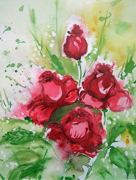 Stillleben, Blumen, Rose, Zeichnung, Zeichnungen