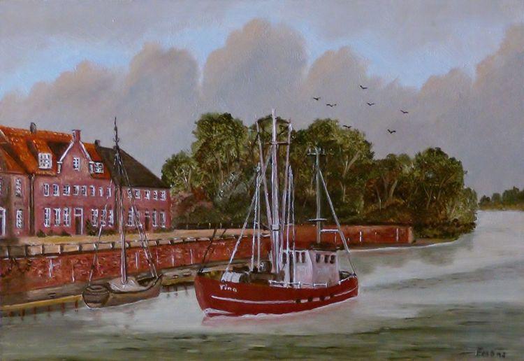 Landschaft, Ölmalerei, Zeitgenössischer maler, Fischkutter, Baum, Haus