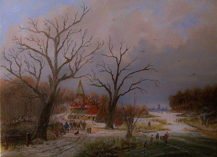 Mühle, Baum, Menschen, Gemälde, Zeitgenössisch, Stadt