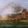 Zeitgenössisch, Wasser, Baum, Gemälde