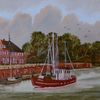 Landschaft, Ölmalerei, Zeitgenössischer maler, Fischkutter