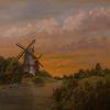 Landschaftsmalerei, Zwillingsmühlen, Wolken, Siel