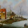 Haus, Stadt, Zeitgenössischer maler, Holländische malerei