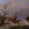 Kirche, Gracht, Winter, Zeitgenössischer maler