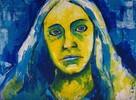 Gelb, Portrait, Acrylmalerei, Blau