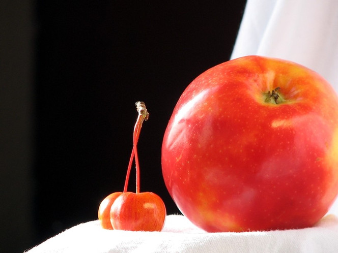 Kirsche, Apfel, Fotografie, Stillleben,