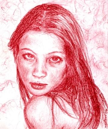 Zeichnung, Veena, Portrait, Rot, Zeichnungen,