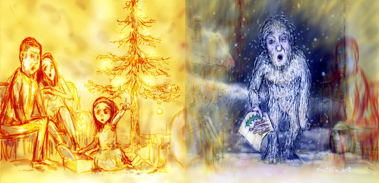 Illustration, Yeti, Schnee, Deutschland, Illustrationen,
