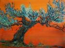 Malerei, Landschaft, Olivenbaum