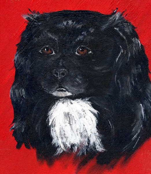 Hund, Figural, Rot schwarz, Malerei, Portrait, Tiere