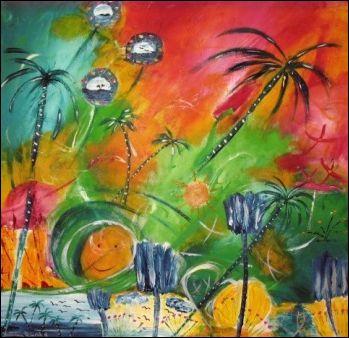 Malerei, Rot, Grün, Abstrakt, Blau, Palmen